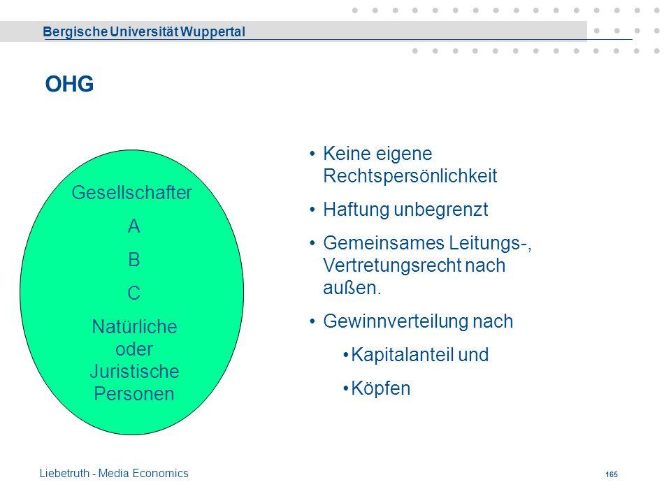 Bergische Universität Wuppertal Liebetruth - Media Economics 164 Dispositives Recht Nicht alle Kriterien sind quantifizierbar und die Bedeutung der Au