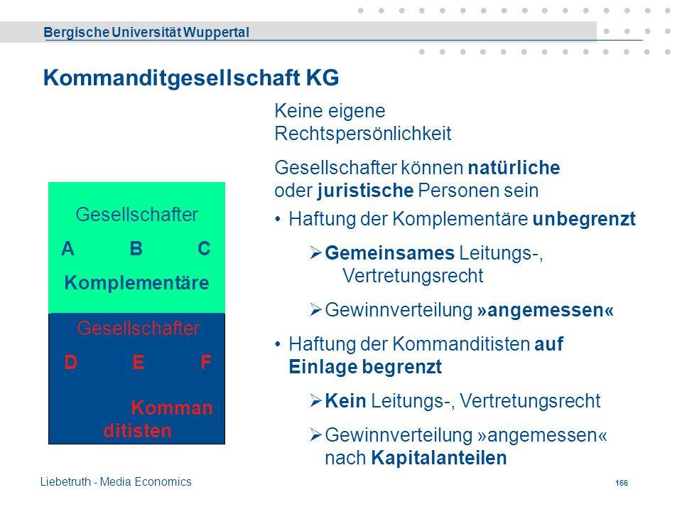 Bergische Universität Wuppertal Liebetruth - Media Economics 165 OHG Gesellschafter A B C Natürliche oder Juristische Personen Keine eigene Rechtspers