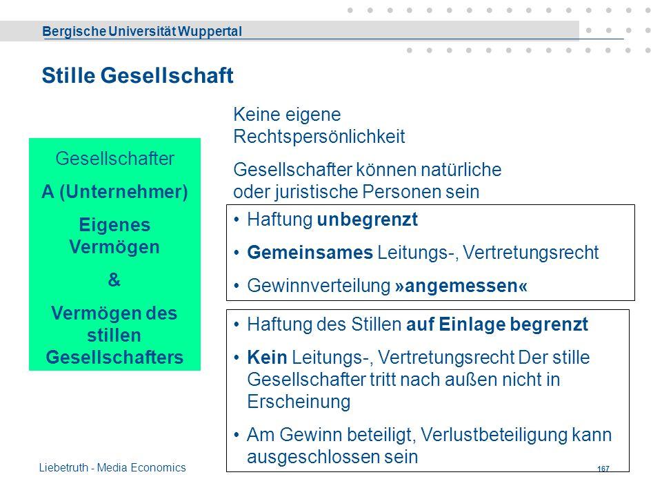 Bergische Universität Wuppertal Liebetruth - Media Economics 166 Kommanditgesellschaft KG Gesellschafter ABC Komplementäre Haftung der Komplementäre u