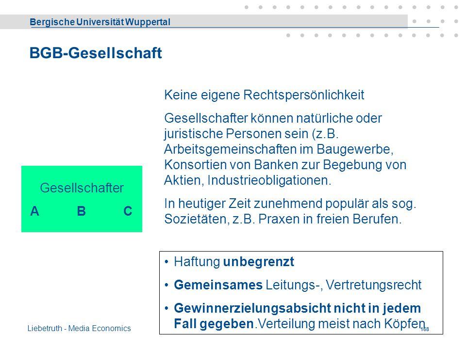 Bergische Universität Wuppertal Liebetruth - Media Economics 167 Stille Gesellschaft Gesellschafter A (Unternehmer) Eigenes Vermögen & Vermögen des st