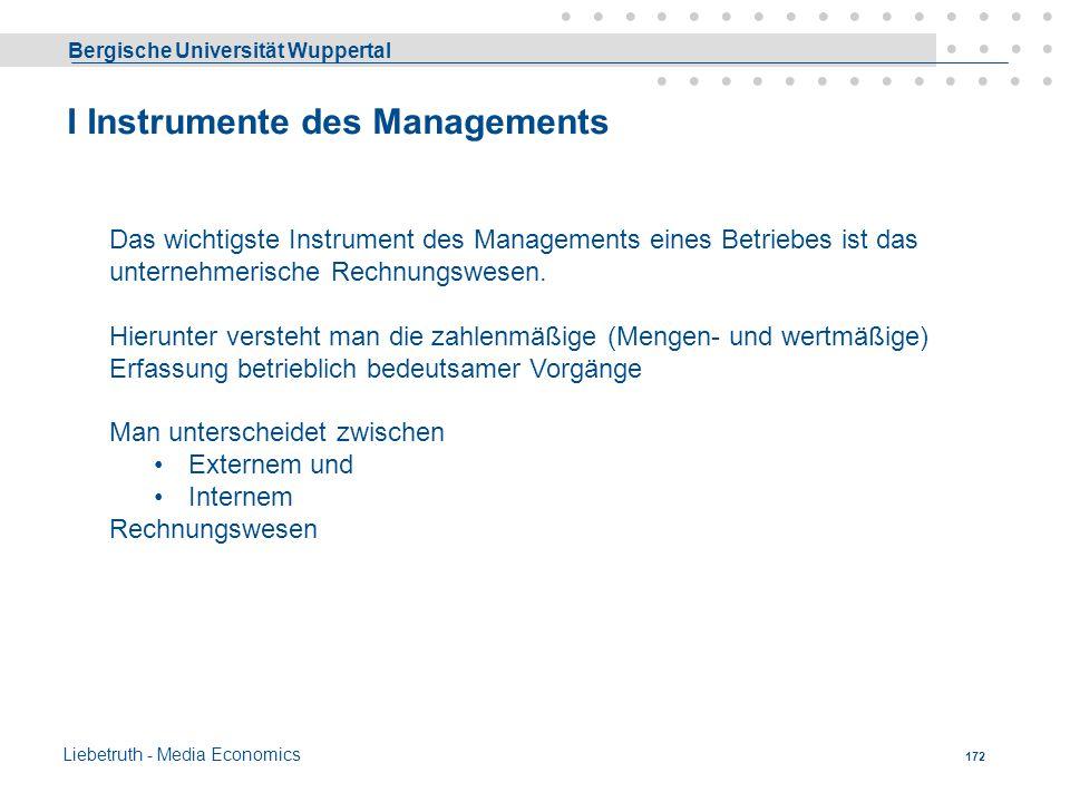 Bergische Universität Wuppertal Liebetruth - Media Economics 171 GmbH & Co KG Kommanditgesellschaft Komplementär(e) (Vollhafter) AB C GmbH Kommanditis
