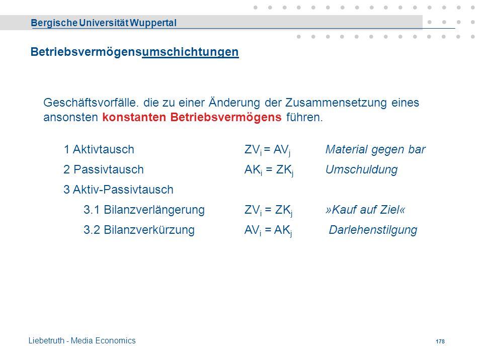 Bergische Universität Wuppertal Liebetruth - Media Economics 177 Änderung der Bilanz durch Geschäftsvorfälle Geschäftsvorfälle sind: 1. Vorgänge zwisc