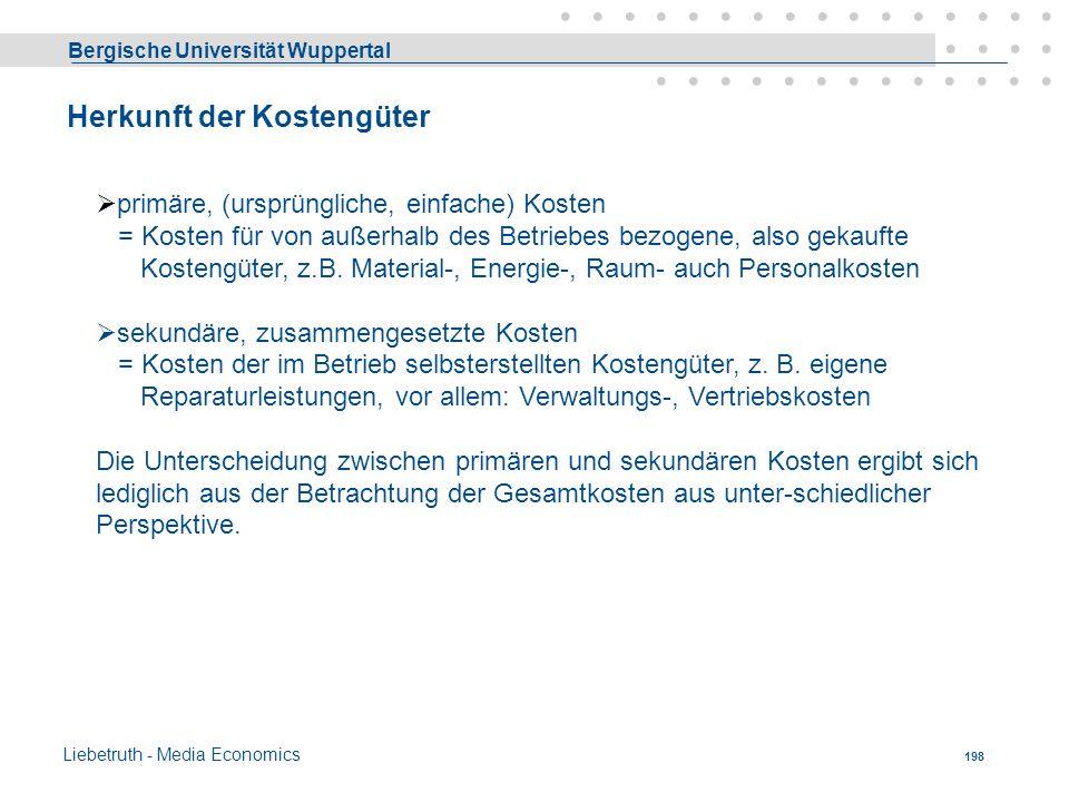 Bergische Universität Wuppertal Liebetruth - Media Economics 197 Variable Kosten - grafisch