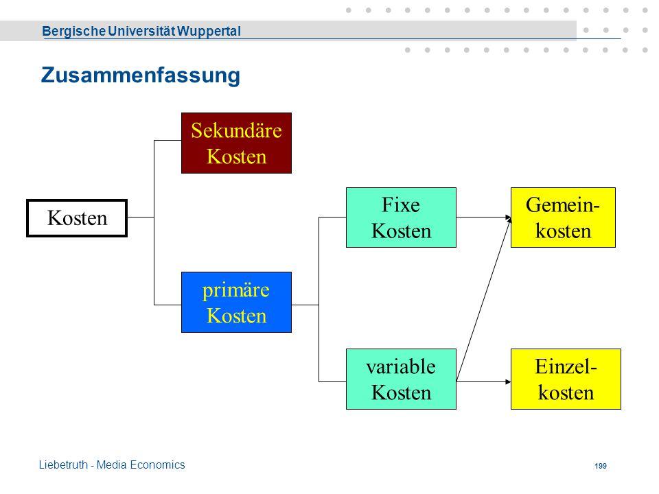 Bergische Universität Wuppertal Liebetruth - Media Economics 198 Herkunft der Kostengüter  primäre, (ursprüngliche, einfache) Kosten = Kosten für von