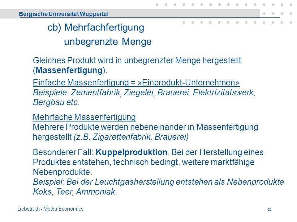 Bergische Universität Wuppertal Liebetruth - Media Economics 22 Auftragsfertigung