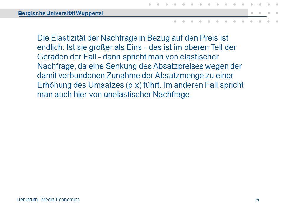 Bergische Universität Wuppertal Liebetruth - Media Economics 78 Güter des Wahlbedarfs dienen der Befriedigung von Luxus und Kultur-Bedürfnissen (Modea