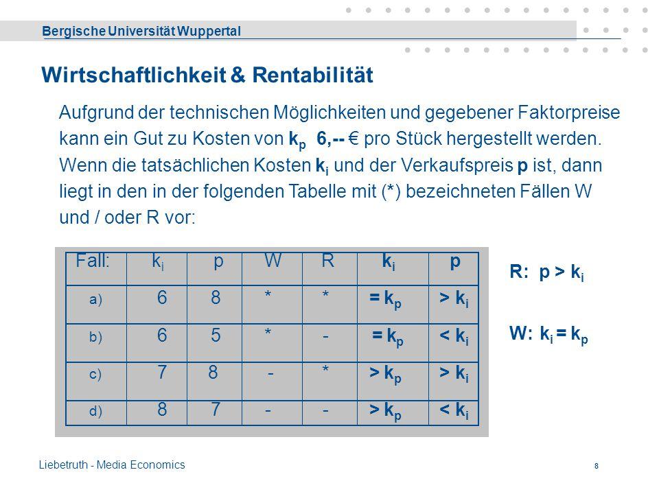 Bergische Universität Wuppertal Liebetruth - Media Economics 7 Ökonomisches Prinzip Bezeichnet man mit E den Ertrag und mit Ê eine bestimmte Menge des