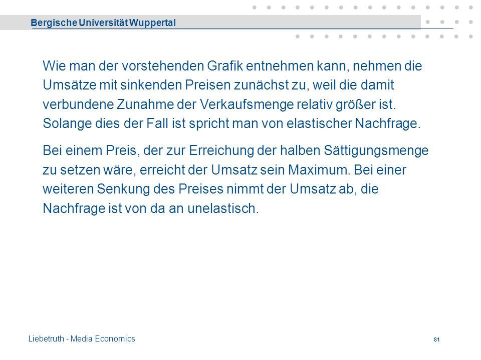 Bergische Universität Wuppertal Liebetruth - Media Economics 80 Wenn e > 1 dann spricht man von elastischer Nachfrage, Wenn e < 1 dann von unelastisch