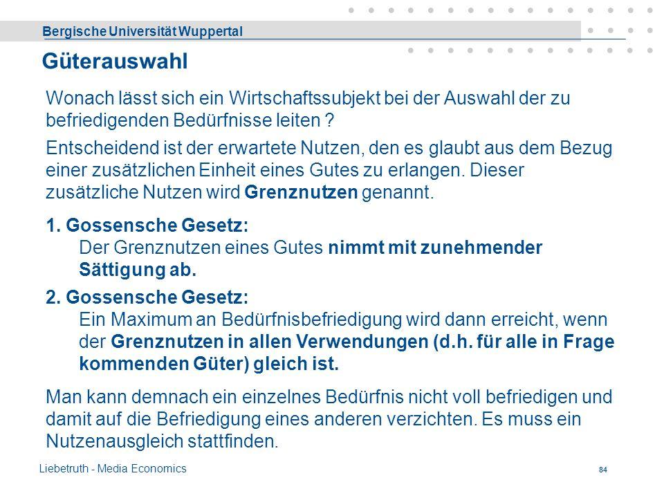 Bergische Universität Wuppertal Liebetruth - Media Economics 83 Cournotscher Punkt II