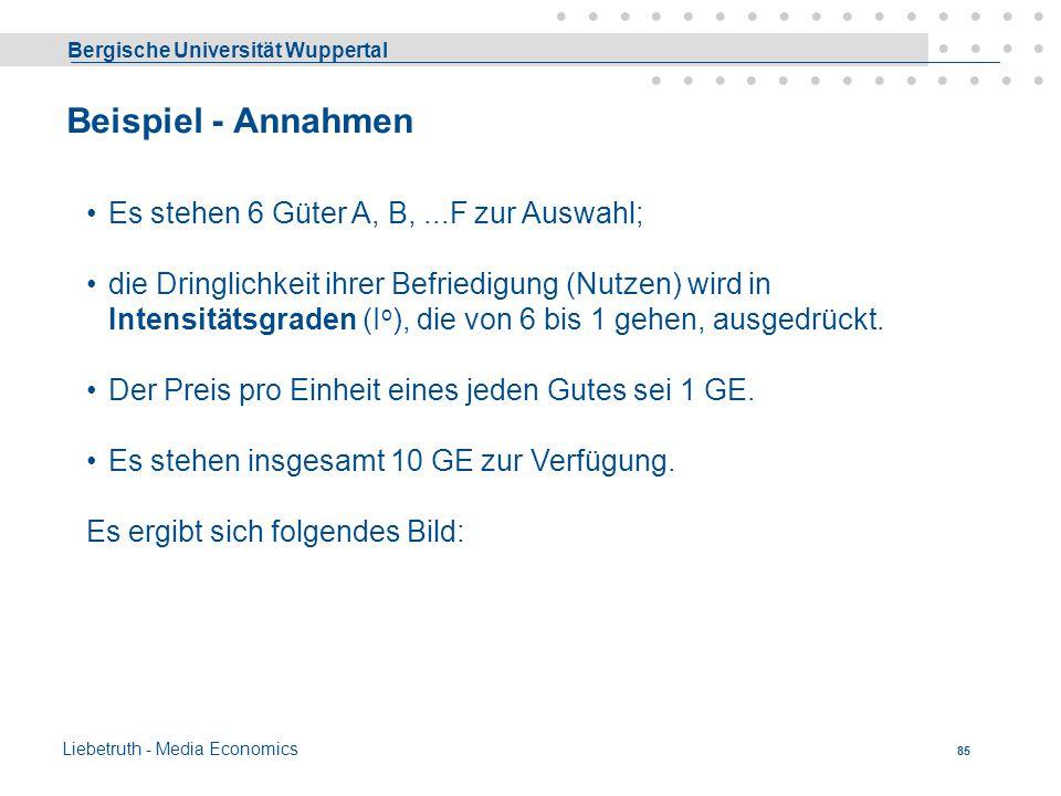 Bergische Universität Wuppertal Liebetruth - Media Economics 84 Güterauswahl Wonach lässt sich ein Wirtschaftssubjekt bei der Auswahl der zu befriedig
