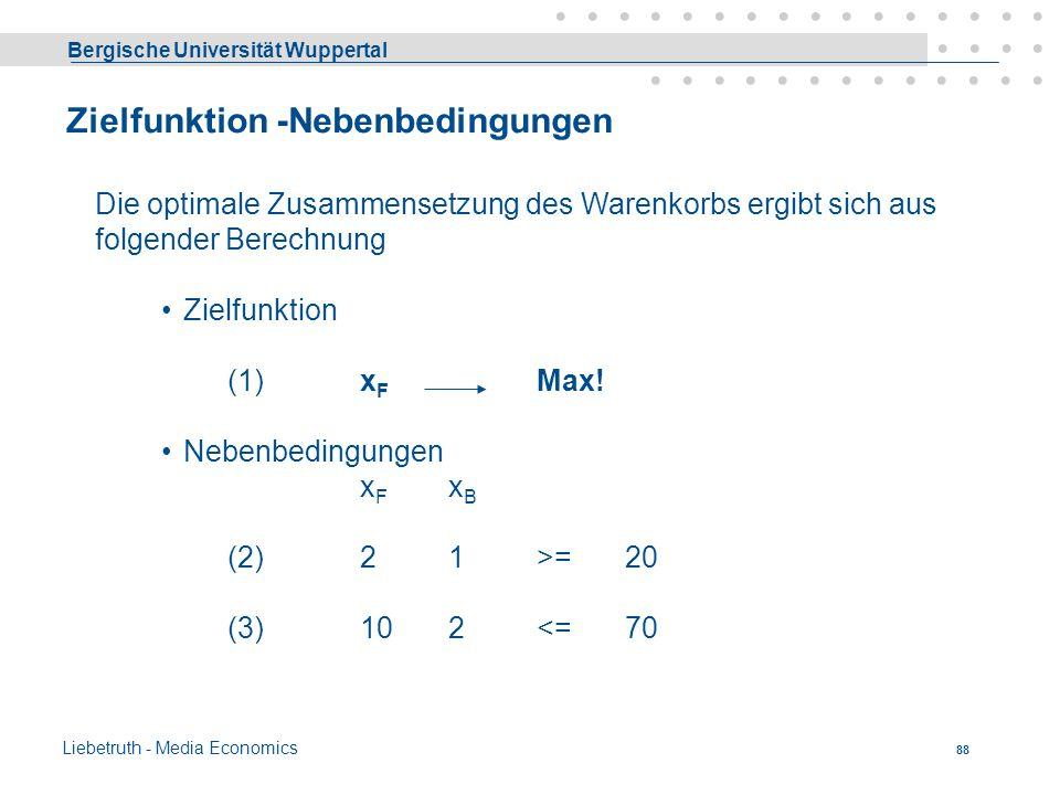 Bergische Universität Wuppertal Liebetruth - Media Economics 87 Warenkorb Eine Familie versorgt sich pro Periode mit bestimmten Mengen von Gütern und