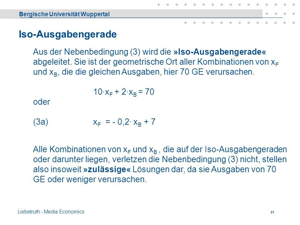 Bergische Universität Wuppertal Liebetruth - Media Economics 90 5101520253035x B Iso-Nutzengerade 2x F + 1x B = 20 x F = - 0,5 x B + 10 Alle Lösungen,