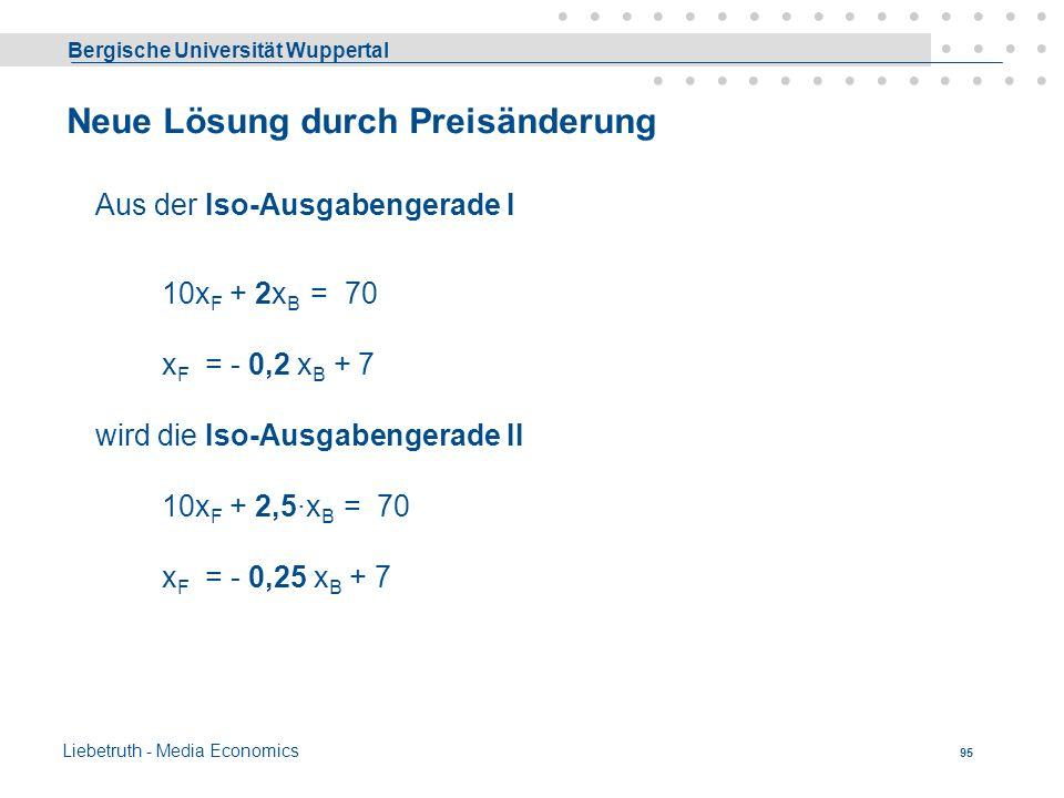 Bergische Universität Wuppertal Liebetruth - Media Economics 94 - Optimallösung Die Kombination, die den höchsten Anteil von x F beinhaltet, ist durch