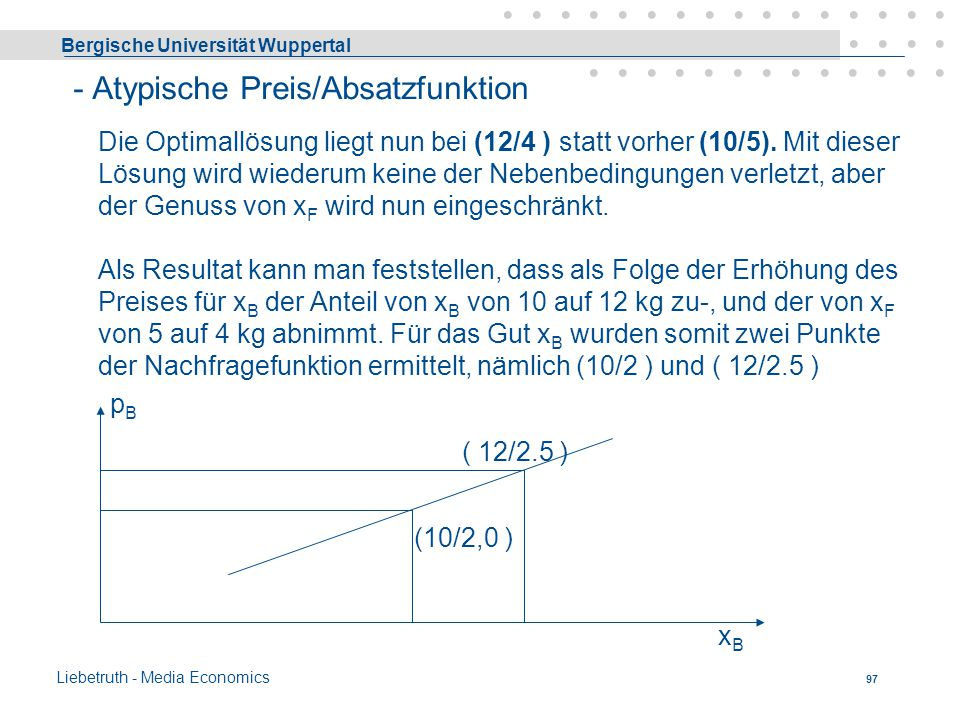 Bergische Universität Wuppertal Liebetruth - Media Economics 96 x F 10 8 6 4 2 0 5101520253035xBxB Iso-Ausgabengerade I Iso-Ausgabengerade II Zielfunk