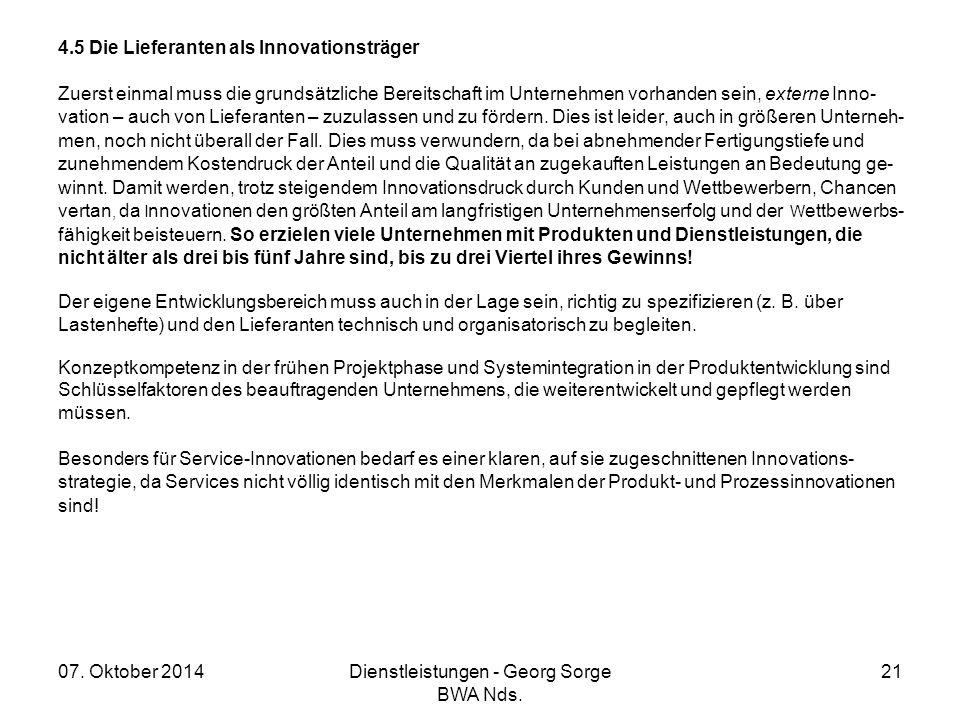 07. Oktober 2014Dienstleistungen - Georg Sorge BWA Nds. 21 4.5 Die Lieferanten als Innovationsträger Zuerst einmal muss die grundsätzliche Bereitschaf