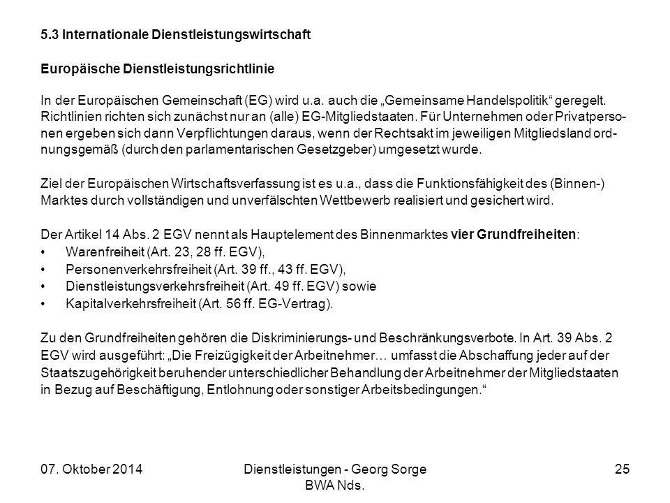 07. Oktober 2014Dienstleistungen - Georg Sorge BWA Nds. 25 5.3 Internationale Dienstleistungswirtschaft Europäische Dienstleistungsrichtlinie In der E