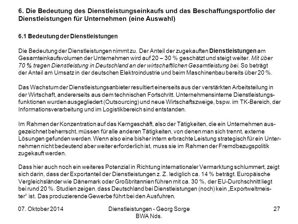 07. Oktober 2014Dienstleistungen - Georg Sorge BWA Nds. 27 6. Die Bedeutung des Dienstleistungseinkaufs und das Beschaffungsportfolio der Dienstleistu
