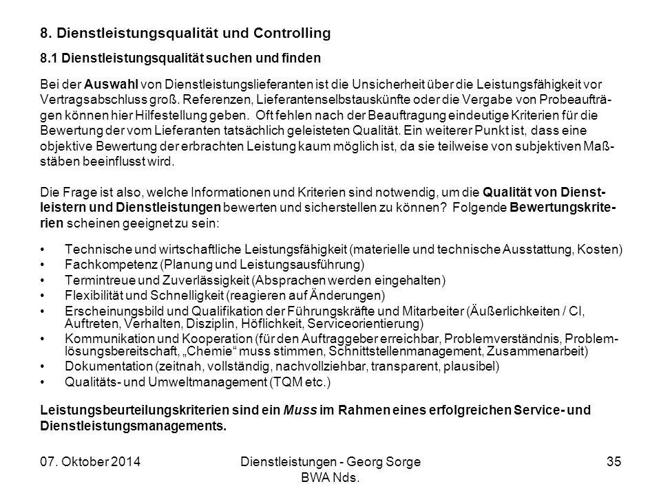 07. Oktober 2014Dienstleistungen - Georg Sorge BWA Nds. 35 8. Dienstleistungsqualität und Controlling 8.1 Dienstleistungsqualität suchen und finden Be
