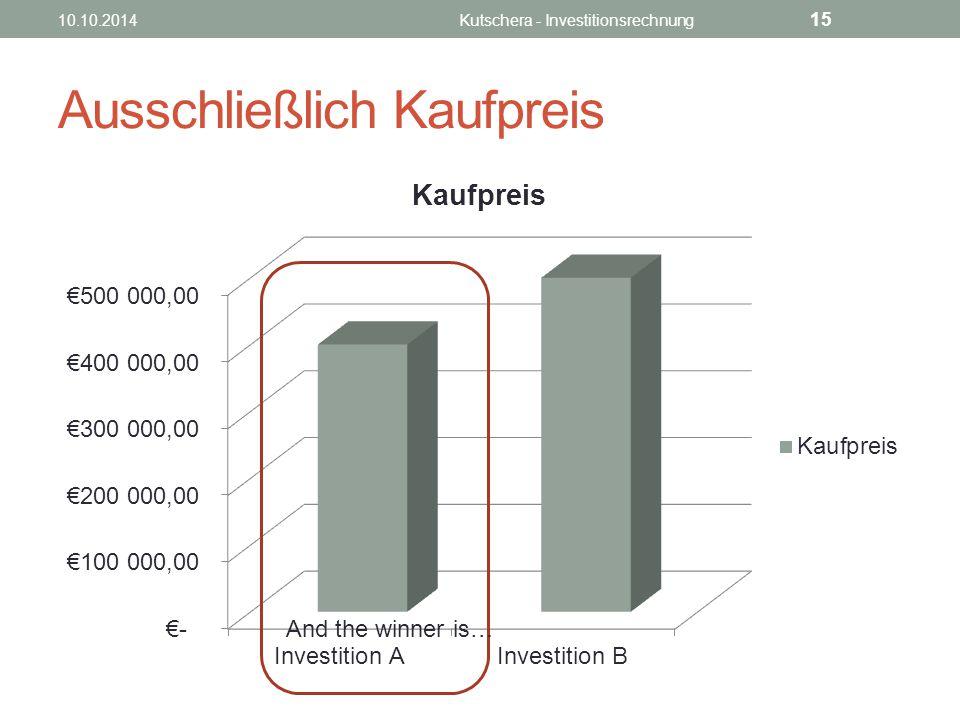 Ausschließlich Kaufpreis And the winner is… 10.10.2014Kutschera - Investitionsrechnung 15