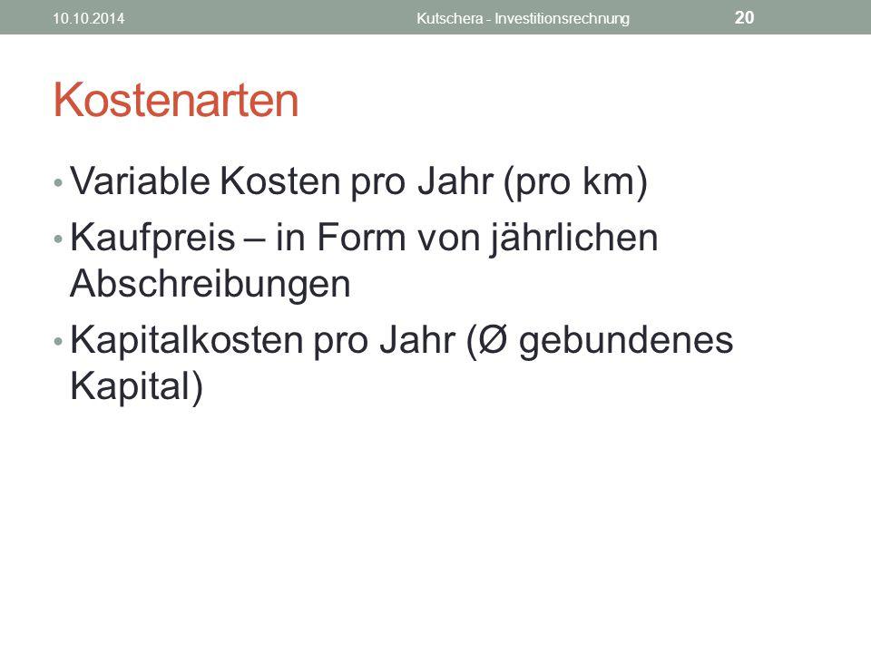 Kostenarten Variable Kosten pro Jahr (pro km) Kaufpreis – in Form von jährlichen Abschreibungen Kapitalkosten pro Jahr (Ø gebundenes Kapital) 10.10.2014Kutschera - Investitionsrechnung 20