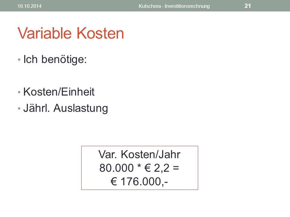 Variable Kosten Ich benötige: Kosten/Einheit€ 2,2 Jährl.