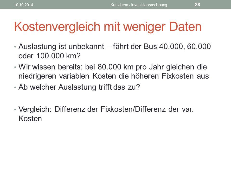 Kostenvergleich mit weniger Daten Auslastung ist unbekannt – fährt der Bus 40.000, 60.000 oder 100.000 km.