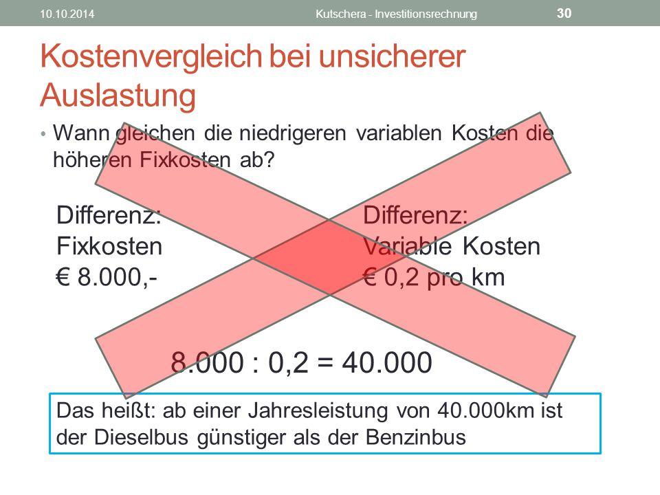 Kostenvergleich bei unsicherer Auslastung Wann gleichen die niedrigeren variablen Kosten die höheren Fixkosten ab.