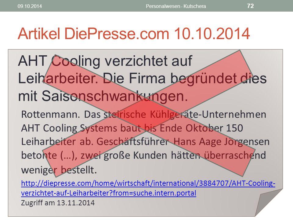 Artikel DiePresse.com 10.10.2014 AHT Cooling verzichtet auf Leiharbeiter.