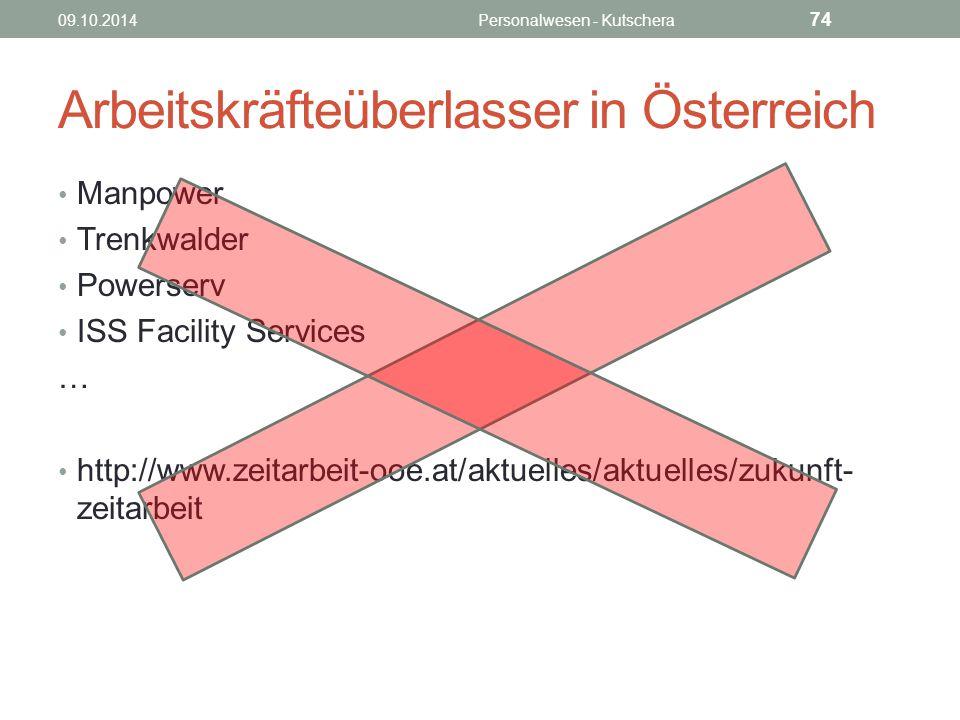 Arbeitskräfteüberlasser in Österreich Manpower Trenkwalder Powerserv ISS Facility Services … http://www.zeitarbeit-ooe.at/aktuelles/aktuelles/zukunft- zeitarbeit 09.10.2014Personalwesen - Kutschera 74