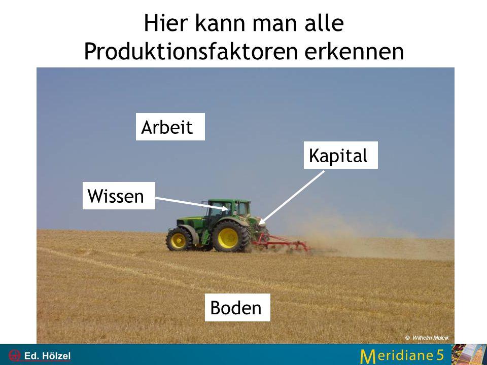 Hier kann man alle Produktionsfaktoren erkennen Boden Kapital Arbeit Wissen © Wilhelm Malcik