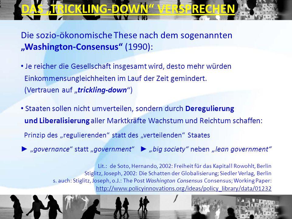 """Die sozio-ökonomische These nach dem sogenannten """"Washington-Consensus"""" (1990): Je reicher die Gesellschaft insgesamt wird, desto mehr würden Einkomme"""