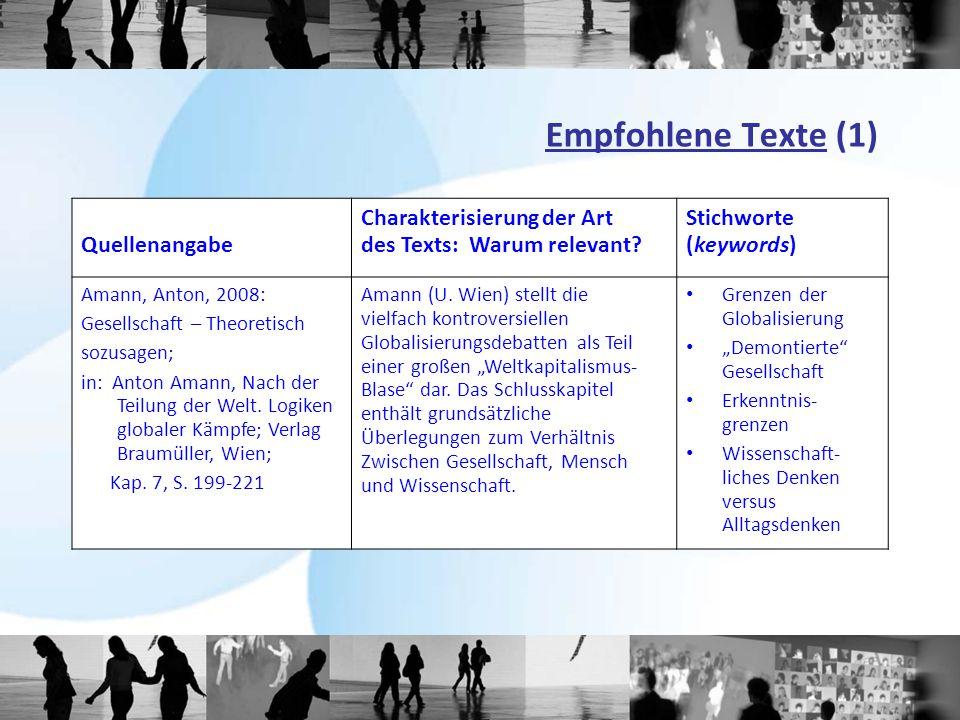 Empfohlene Texte (1) Quellenangabe Charakterisierung der Art des Texts: Warum relevant? Stichworte (keywords) Amann, Anton, 2008: Gesellschaft – Theor