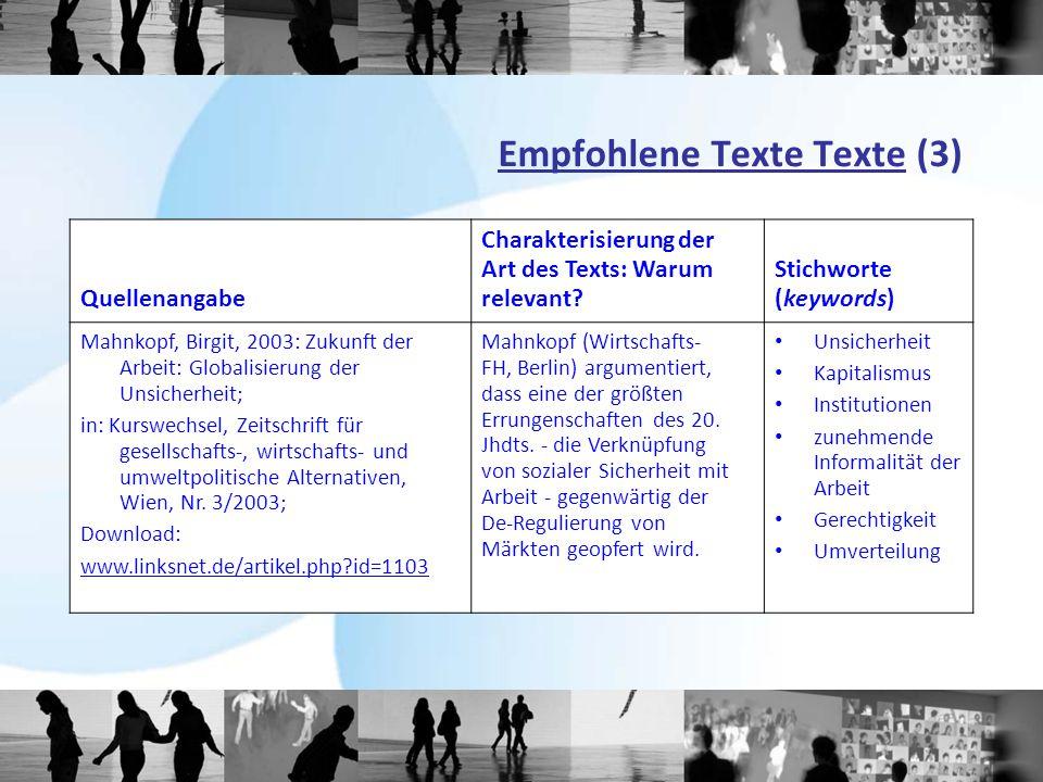 Empfohlene Texte Texte (3) Quellenangabe Charakterisierung der Art des Texts: Warum relevant? Stichworte (keywords) Mahnkopf, Birgit, 2003: Zukunft de