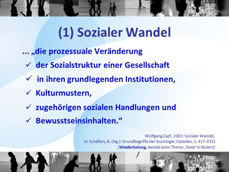 """(1) Sozialer Wandel... """"die prozessuale Veränderung der Sozialstruktur einer Gesellschaft in ihren grundlegenden Institutionen, Kulturmustern, zugehör"""