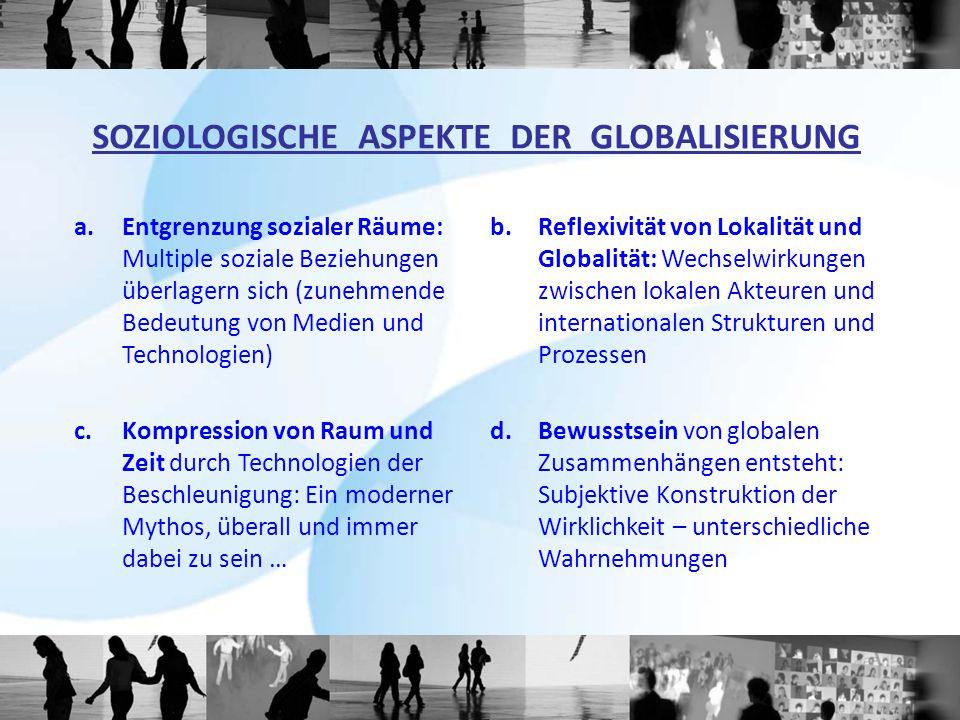 a.Entgrenzung sozialer Räume: Multiple soziale Beziehungen überlagern sich (zunehmende Bedeutung von Medien und Technologien) b.Reflexivität von Lokal