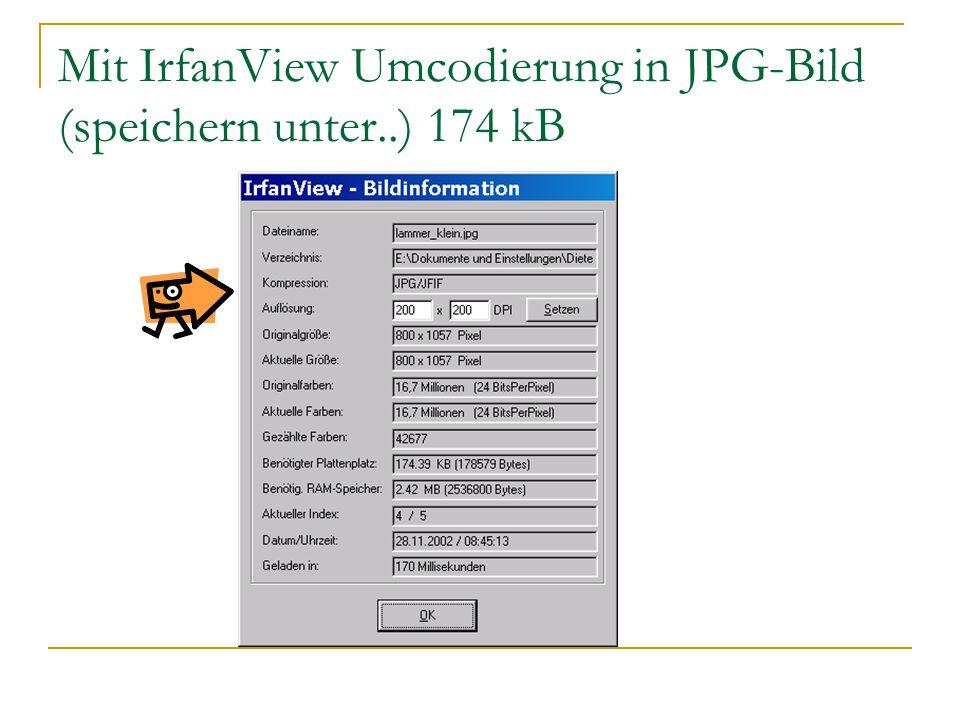 Mit IrfanView Umcodierung in JPG-Bild (speichern unter..) 174 kB