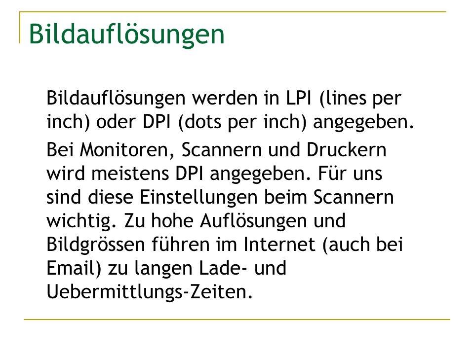 Bildauflösungen Bildauflösungen werden in LPI (lines per inch) oder DPI (dots per inch) angegeben. Bei Monitoren, Scannern und Druckern wird meistens