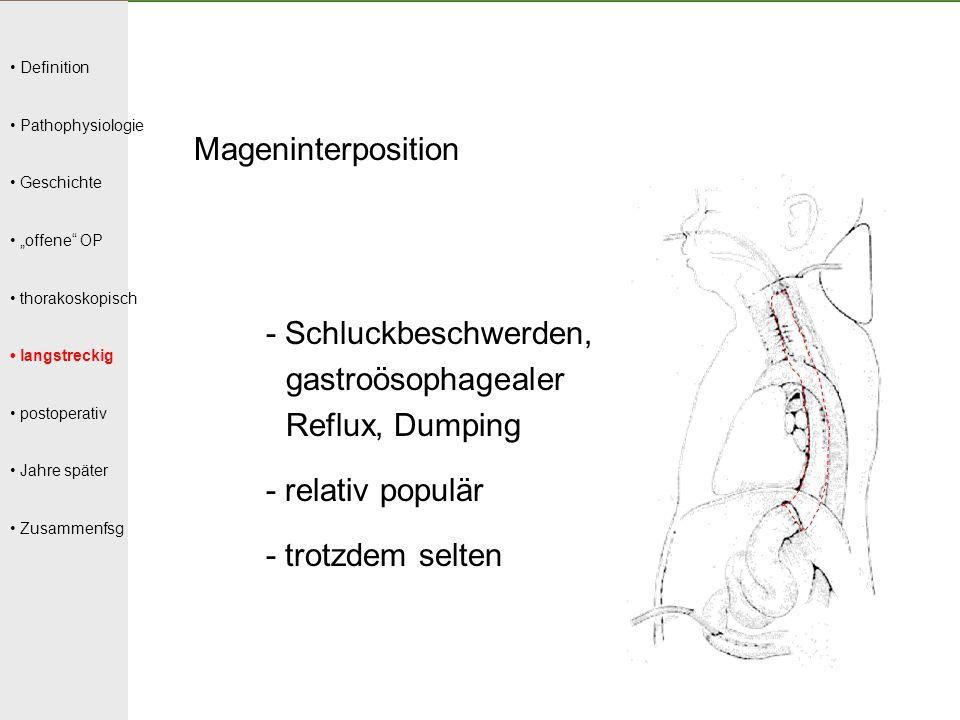 """Definition Pathophysiologie Geschichte """"offene"""" OP thorakoskopisch langstreckig postoperativ Jahre später Zusammenfsg Mageninterposition - Schluckbesc"""