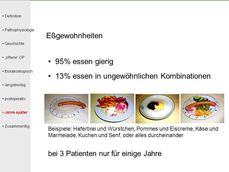 """Definition Pathophysiologie Geschichte """"offene"""" OP thorakoskopisch langstreckig postoperativ Jahre später Zusammenfsg Eßgewohnheiten 95% essen gierig"""