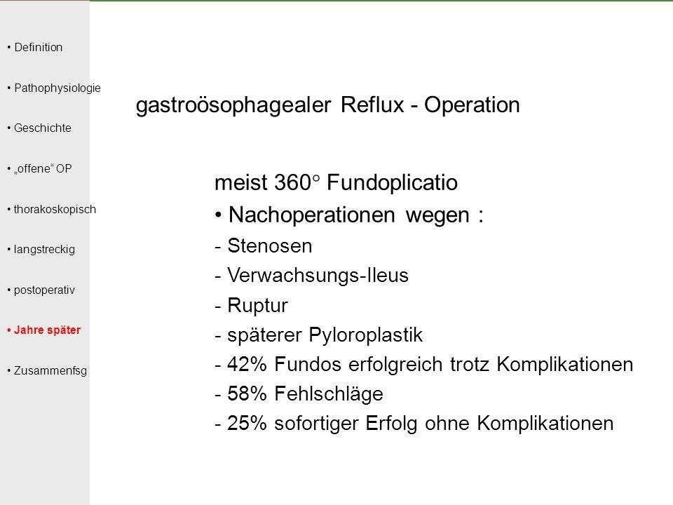"""Definition Pathophysiologie Geschichte """"offene"""" OP thorakoskopisch langstreckig postoperativ Jahre später Zusammenfsg gastroösophagealer Reflux - Oper"""