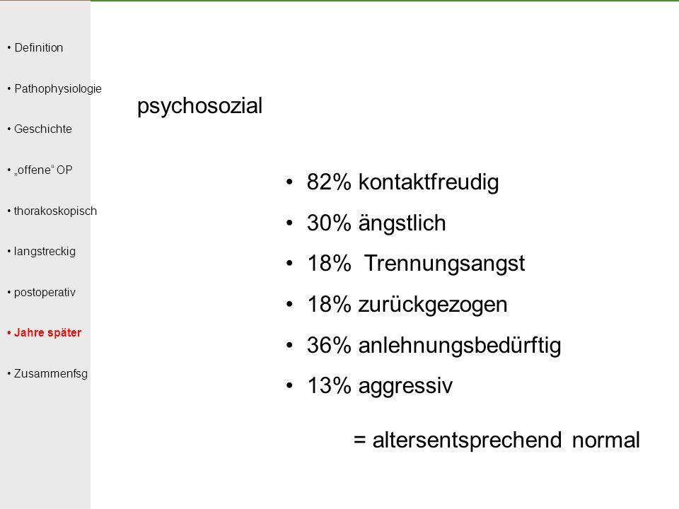 """Definition Pathophysiologie Geschichte """"offene"""" OP thorakoskopisch langstreckig postoperativ Jahre später Zusammenfsg psychosozial 82% kontaktfreudig"""