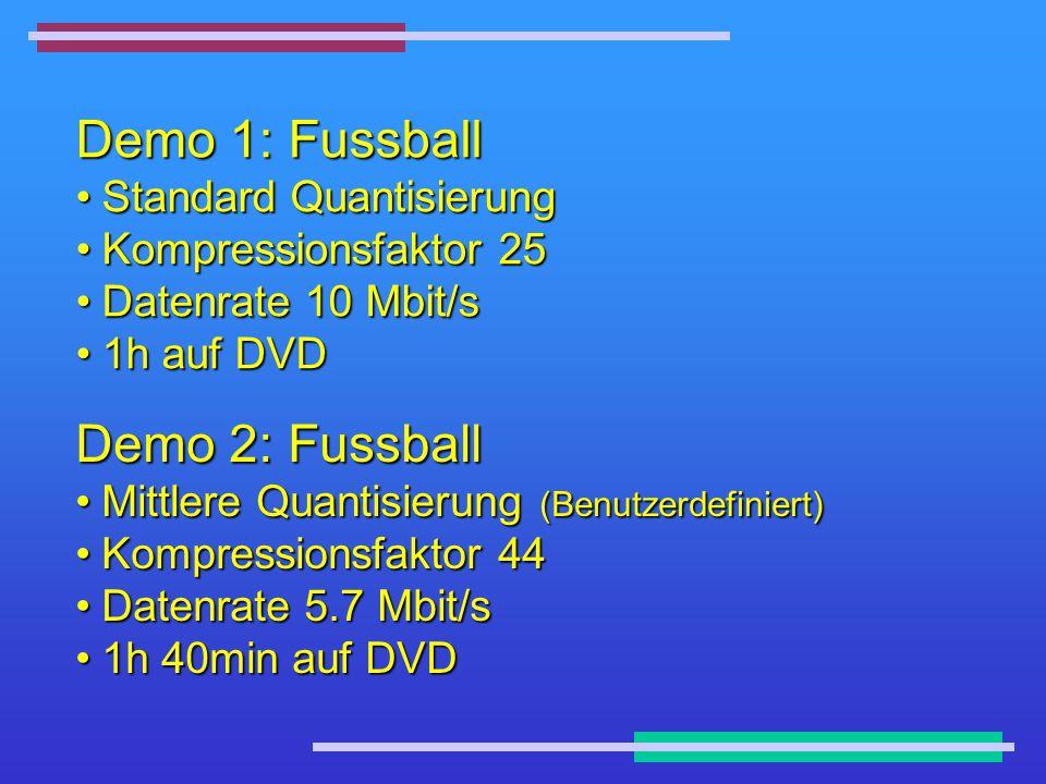 Demo 1: Fussball Standard QuantisierungStandard Quantisierung Kompressionsfaktor 25Kompressionsfaktor 25 Datenrate 10 Mbit/sDatenrate 10 Mbit/s 1h auf