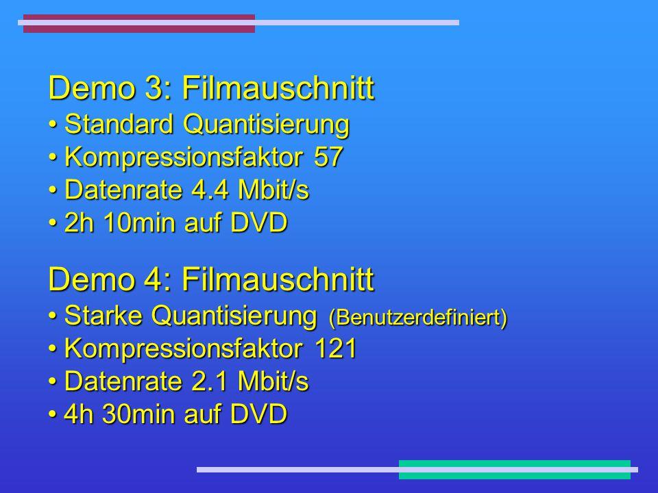 Demo 3: Filmauschnitt Standard QuantisierungStandard Quantisierung Kompressionsfaktor 57Kompressionsfaktor 57 Datenrate 4.4 Mbit/sDatenrate 4.4 Mbit/s