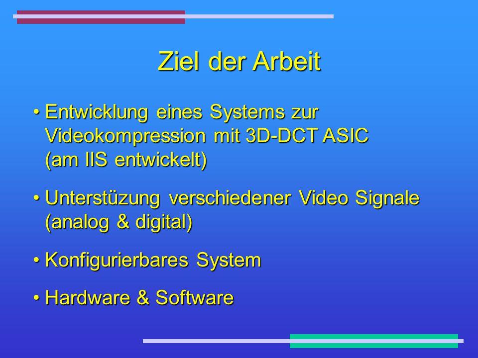 Ziel der Arbeit Entwicklung eines Systems zur Videokompression mit 3D-DCT ASIC (am IIS entwickelt)Entwicklung eines Systems zur Videokompression mit 3