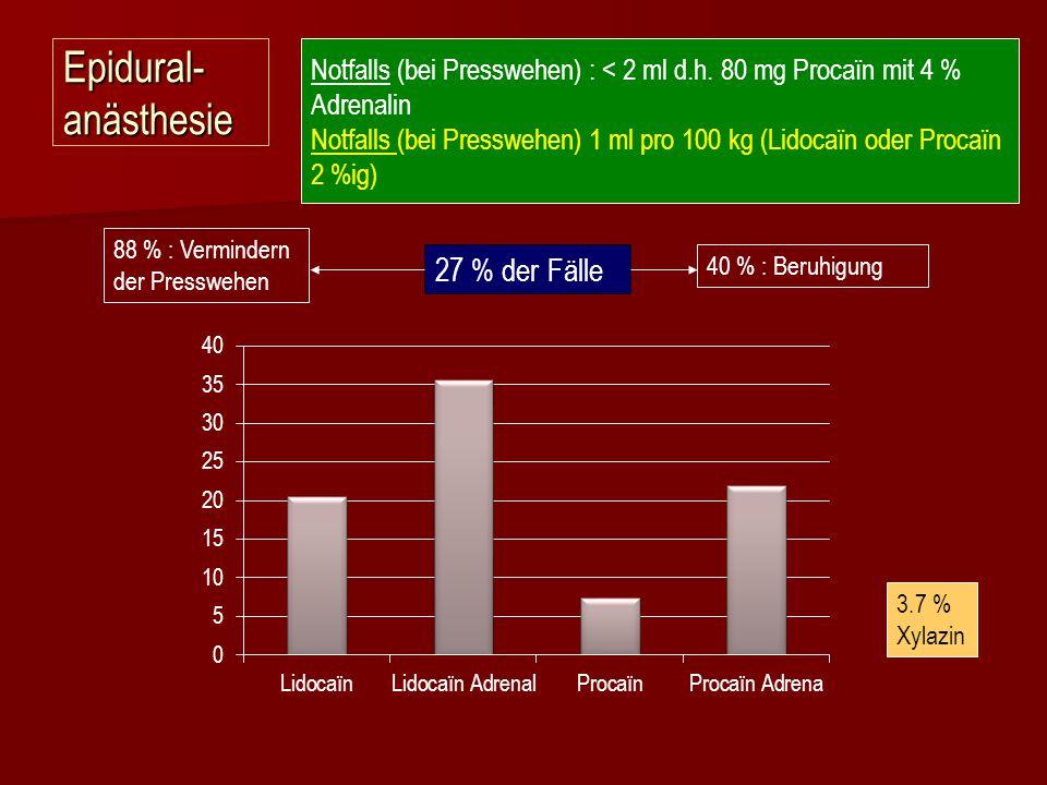Epidural- anästhesie Notfalls (bei Presswehen) : < 2 ml d.h. 80 mg Procaïn mit 4 % Adrenalin Notfalls (bei Presswehen) 1 ml pro 100 kg (Lidocaïn oder