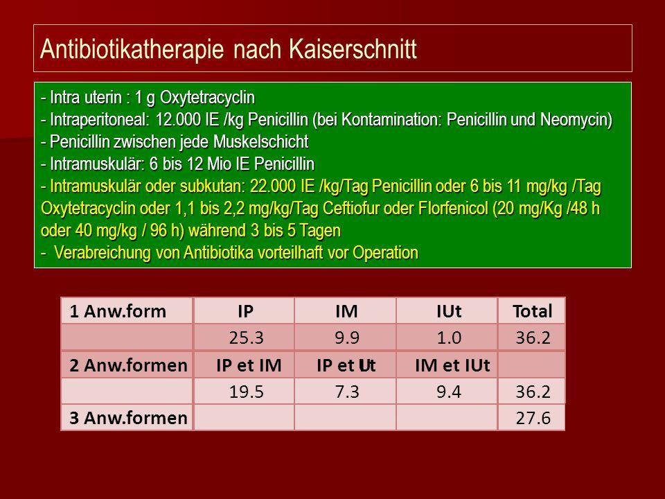 Antibiotikatherapie nach Kaiserschnitt - Intra uterin : 1 g Oxytetracyclin - Intraperitoneal: 12.000 IE /kg Penicillin (bei Kontamination: Penicillin
