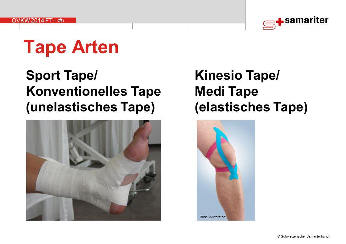 OVKW 2014 FT - 11 © Schweizerischer Samariterbund Sport Tape/ Konventionelles Tape (unelastisches Tape) Kinesio Tape/ Medi Tape (elastisches Tape) Tape Arten Bild: Shutterstock