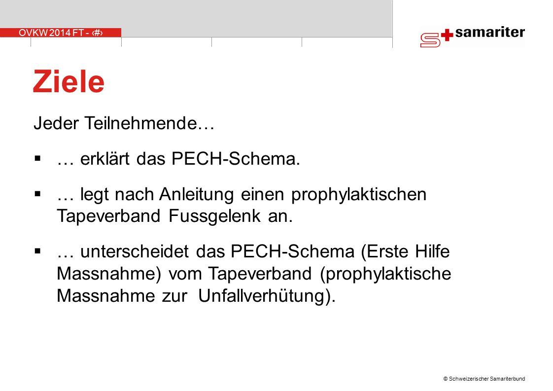 OVKW 2014 FT - 3 © Schweizerischer Samariterbund Ziele Jeder Teilnehmende…  … erklärt das PECH-Schema.