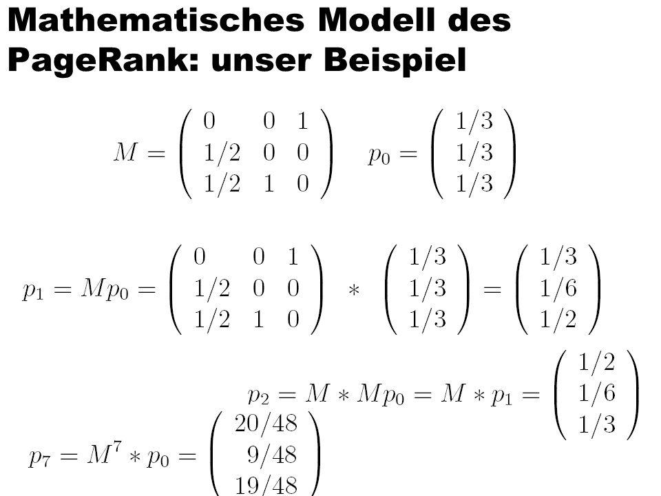 Mathematisches Modell des PageRank: unser Beispiel