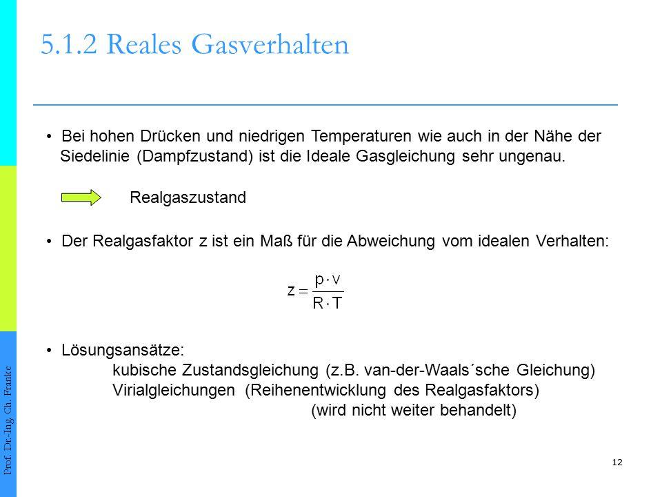 Bei hohen Drücken und niedrigen Temperaturen wie auch in der Nähe der Siedelinie (Dampfzustand) ist die Ideale Gasgleichung sehr ungenau. 12 5.1.2Real